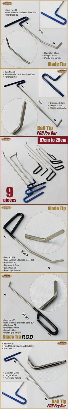 remove dents removal kit pry bar puller rods hooks pdr tools set paintless car body repair bodywork auto prybar pulling fixing