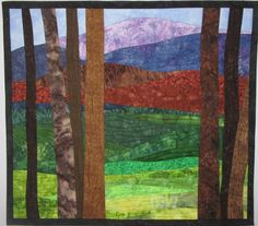 Art Quilt Landscape Trees 20 with Mountains by ArtQuiltsBySharon