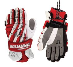 """Lacrosse Unlimited and Warrior Lacrosse Regulator 13"""" Gloves in Red, White, and Gray for all levels of play."""