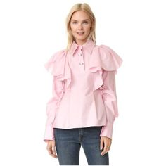 KENZO Cotton Silk Blouse (10.000.865 IDR) ❤ liked on Polyvore featuring tops, blouses, pale pink, pink blouse, pink top, long sleeve blouse, pale pink top and tie collar blouse