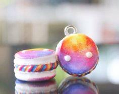 Kawaii Galaxy Macarons polymer clay charm by Puggycraftshop