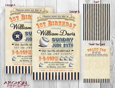 Houston Astros Colors - Baseball Party Invitation with a Vintage Feel - Personalized - Digital - Printable by ArchonDesignStudio on Etsy www.archondesignstudio.com