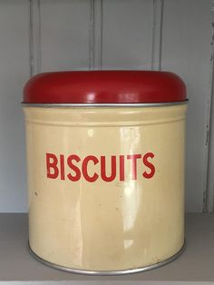 Vintage Worcester Ware Biscuits Tin Container Red/Cream