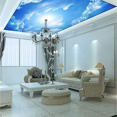 Feito por encomenda da foto papel de parede nuvens do céu azul e branco papel de parede teto interior Top conferência pintura mural da parede sala de estar do lobby