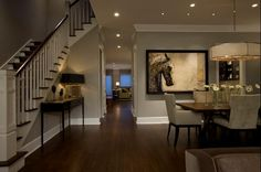 Transitional Style Room w/ Gray Walls, Recessed Lighting & White Baseboards