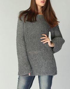 Hand knit sweater Eco cotton long sweater in by MaxMelody on Etsy