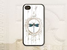 Vintage style shabby chic dragonfly cell phone case, iPhone 4 4S 5 5s Samsung Galaxy S3 S4, Cottage, Dragonflies phone cover V1130