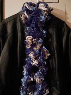 Crocheted Blue White & Tan Scarf by MannaberryOriginals on Etsy, $12.00