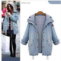 Winter Jackets 2016 Fashion New Women Long Sleeve Hooded Loose Denim Coats Two-Piece Cowboy Coat Jean Jackets Plus Size M-4XL