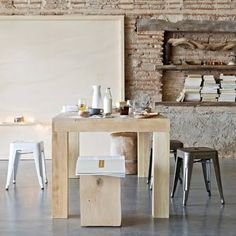 Eettafel Merlin 2, Wooden Dining Tables, Piece A Vivre, Wood And Metal, Decoration, Ramen, Sweet Home, Dining Room, Kitchen