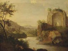 Circle of Bartholomeus Breenbergh (Deventer 1598-1657 Amsterdam) A wooded landscape with bathing nymphs near classical ruins oil on canvas, unlined 47.7 x 57.4 cm.