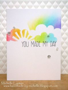 Handmade by Michelle: One layer masked rainbow