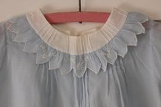 Vintage Hand Made Baby Girl Dress  - Pale Blue with Pintucking and Embroidered Flower