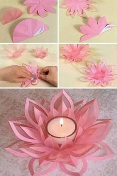 Learn How To Make A Paper Lotus Candle Holder