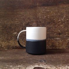 Handmade Danish Mug in White Black Color Block