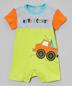 Lime Punch & Heather Gray 'Here I Come' Romper - Infant