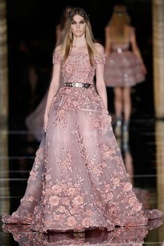 Zuhair Murad Couture Spring 2015 | Off-the-shoulder ball gown in powder pink tulle, encrusted with 3D flowers and shimmering crystals