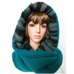 Wool hooded scarf winter scarf unique christmas gift by Jousilook