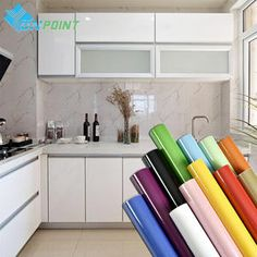 Wall Sticker Paper Kitchen Cabinet Refacing Film Self Adhesive Wallpaper 11Color