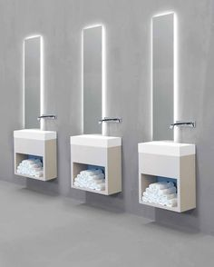 Minimalist washbasin for hotels and public areas, Lavamani by Rifra _