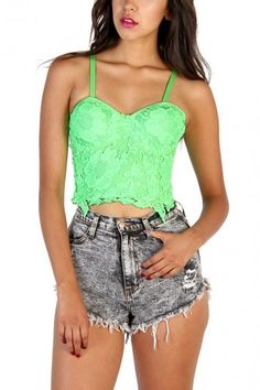 Crochet Lace Bustier Top - Neon Grass Green