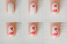 Simple Nail Art Designs tutorial step by step, easy nail art designs by hand for beginners at home , nail art design without tools, Nail Airt by toothpick Simple Nail Art Designs, Easy Nail Art, Cool Nail Art, Diy Nails, Cute Nails, Manicure, Flamingo Nails, Animal Nail Art, Nagel Hacks