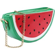 Faux Leather Watermelon Chain Bag ❤ liked on Polyvore featuring bags, handbags, vegan leather bags, vegan leather purse, vegan handbags, synthetic leather handbag and red handbags
