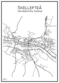 Skellefteå. Sverige. Karta. City print. Print. Affisch. Tavla. Tryck.