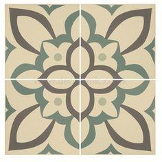 Original Style tiles - Renaissance Denim, Light Jade and Dark Jade on White decorative wall and floor  tile 151 x 151 x 9 mm - 8042V Odyssey