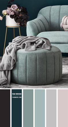 Sage Color Palette, Color Schemes Colour Palettes, Modern Color Schemes, Living Room Decor Colors, Living Room Color Schemes, Bedroom Colors, Colorful Decor, Colorful Interiors, Sage Living Room
