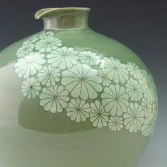 Celadon Porcelain Jar with Inlaid White Chrysanthemums - Antique Alive