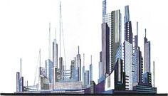 Composition no. 21, Complex Spatial Combination of Skyscraper Shapes, Architectural Fantasies, 1929-1933.