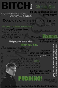 Supernatural Quotes Poster  Dean Winchester 24 x by GraphicCentral, $29.99