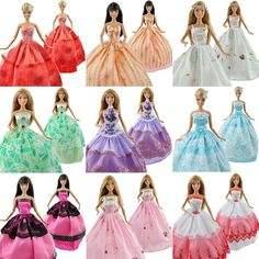 E-TING 5Pcs Fashion Handmade Clothes Dresses Grows Outfit for Barbie Dolls(Ramdon style)