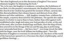 Umberto Eco 'The Name of the Rose' on laughter, fear, religion