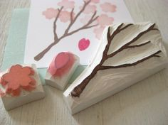 Items similar to Japanese sakura stamp set - cherry blossom branch and flower set - Hand carved rubber stamp on Etsy Diy Stamps, Handmade Stamps, Make Your Own Stamp, Eraser Stamp, Stamp Carving, Stamp Printing, Paper Crafts, Diy Crafts, Partys