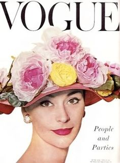Vogue-June 1956 Cover:Model Anne Gunning is wearing a Hat by Christian Dior Boutique.