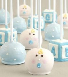 For a baby boy or girl shower try these adorable blue or pink cake pops. Cute if you are not finding out the sex of the baby. Just do both colors. Or of you are having twins, one of each.