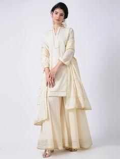Ivory Gota Cotton Kurta with Sharara and Dupatta (Set of Simple Pakistani Dresses, Pakistani Bridal Dresses, Pakistani Dress Design, Pakistani Outfits, Indian Dresses, Stylish Dress Designs, Designs For Dresses, Stylish Dresses, Simple Dresses