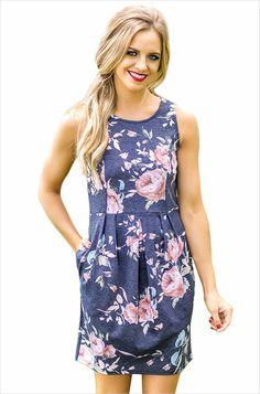 Women's #blue sleeveless mini #dress high waist flower pattern print design, pleated detail on waist, Side insert pockets, casual, leisure, summer Occasions.