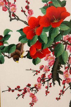 Kitayckaya hand embroidered silk flower pictures
