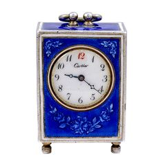 CARTIER Miniature Sterling Silver and Enamel Desk Timepiece | From a unique collection of vintage jewelry at https://www.1stdibs.com/jewelry/