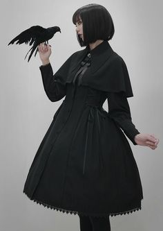 Your Gift -The Raven- Gothic Lolita Jacket (OP Dress) and Cape