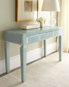 "Light Blue Translucent Glass Desk - Neiman Marcus $1399 48""w x 20"" D"