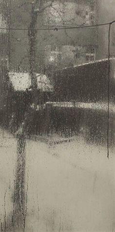 Josef Sudek, from the 'Window of My Atelier' series, <> (rain, rainy day) Atelier Series, Street Photography, Art Photography, Josef Sudek, I Love Rain, When It Rains, Rainy Days, Rainy Night, Belle Photo