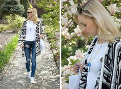 Pull & Bear Cardigan, Zara Jeans, Adidas Super Star, New Look Necklace