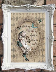 ALICE in Wonderland Quote Art Print. Shabby Chic Decor. Alicein Wonderland Decor. Wall Art. Alice Print. Tea Party. Drink me. Code:A001 by OldStyleDesign on Etsy https://www.etsy.com/listing/194125153/alice-in-wonderland-quote-art-print