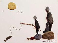 Nomemade Beach Rock Art More Beach Rocks Crafts, Rock Crafts, Beach Rock Art, Twig Art, Pebble Pictures, Rock And Pebbles, Stone Crafts, Sea Glass Art, Pebble Art