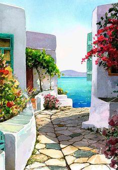 Terrace by the Sea ~ Pantelis Zografos