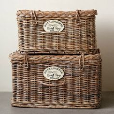 Creative Co-Op Chateau Woven Truck Ship Arurog 2 Piece Chest Set Home Decor Accessories, Decorative Accessories, Large Nightstands, Home Decor Near Me, Wood Basket, Antique Farmhouse, French Farmhouse, Creative Co Op, French Countryside